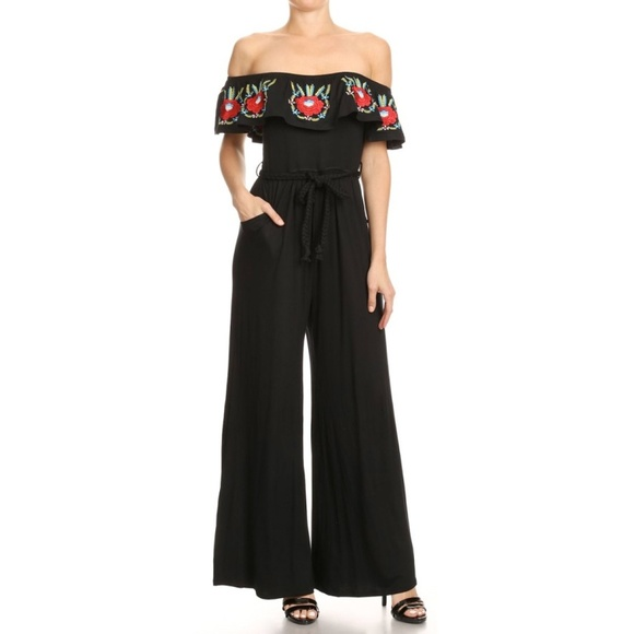 Vava by Joy Han Pants - Vava by Joy Han black embroidered floral jumpsuit